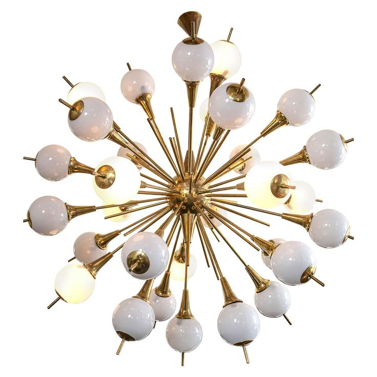 Very Large Sputnik Style Murano And Brass Fixture