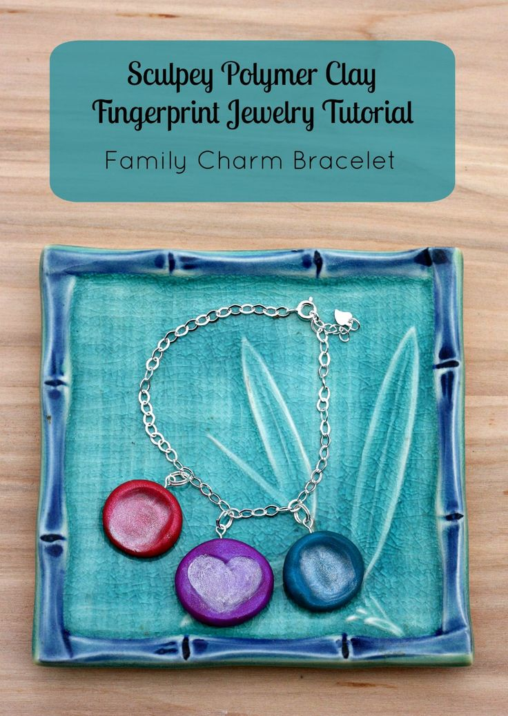 Hello Creative Family's Sculpey Polymer Clay Fingerprint Jewelry Tutorial- Family Charm Bracelet. A great handmade Mother's Day or Christmas gift that kids can craft and help make!