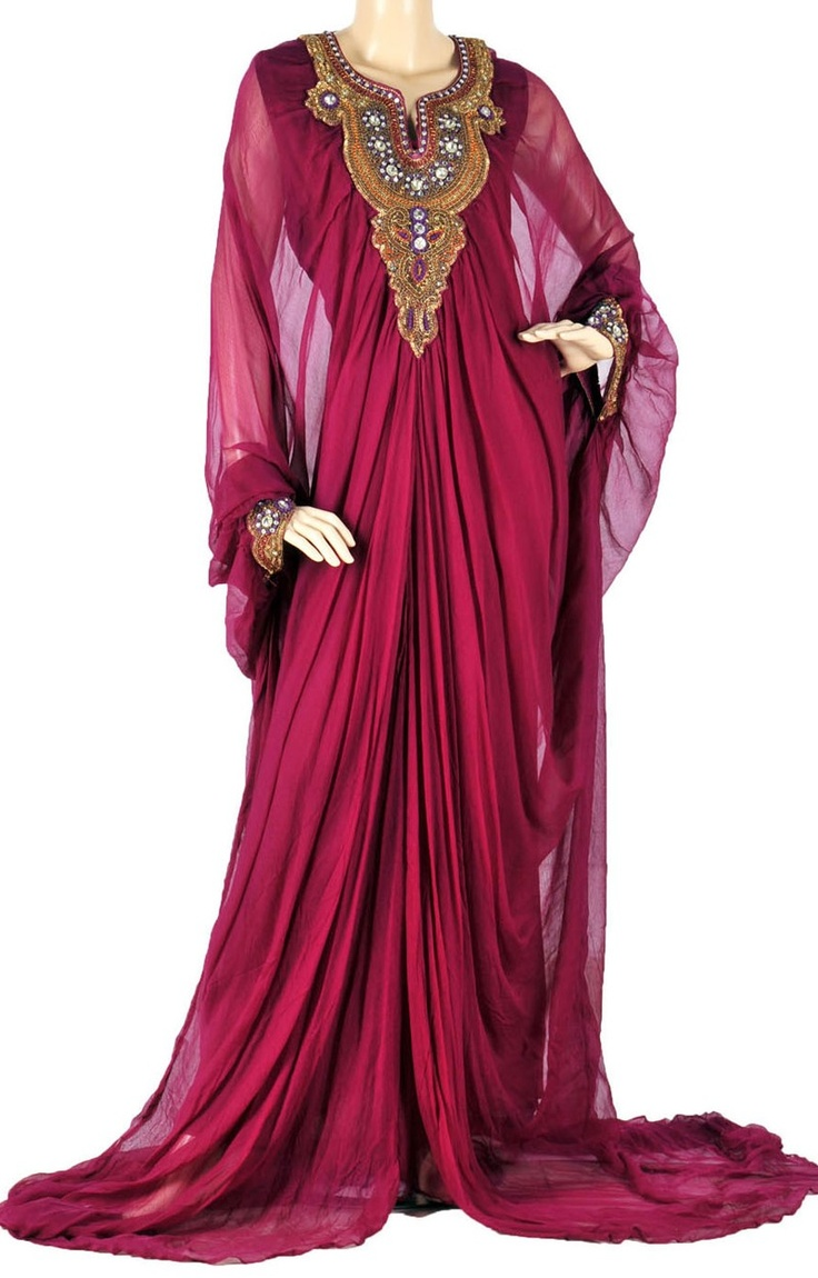 "aljalabiya.com: ""The Beauty in Red Kaftan"" Crinkled chiffon jalabiya with beads and stones on chest & cuffs (N-12686) $285.00"