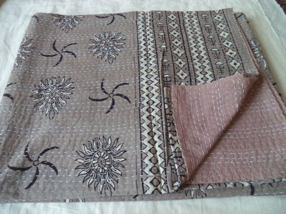Ajrakh kantha quilt handmade vegetable dye bedsheet QUEEN size throw ajrakh block print bedspread