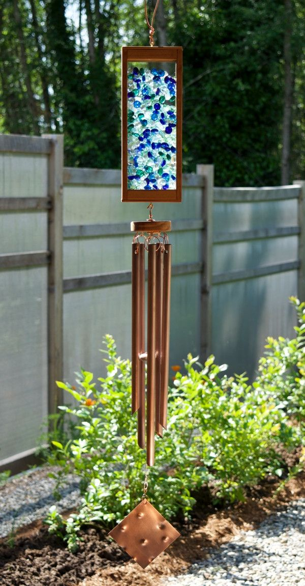Handcrafted Windchime Colorful Glass Copper Chimes