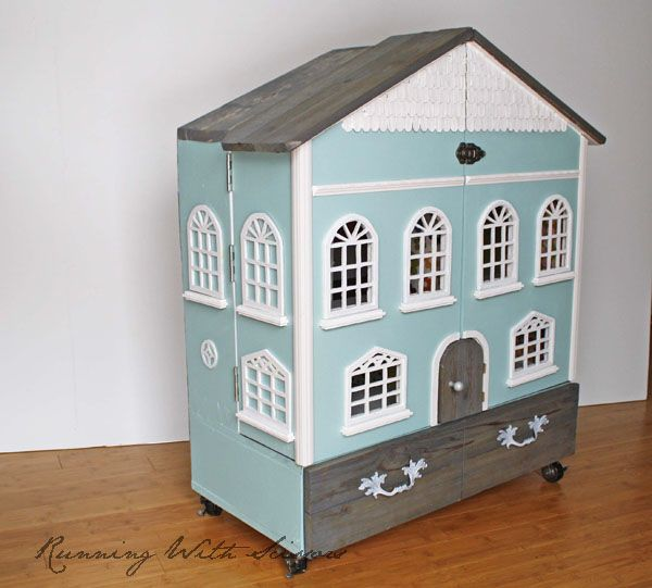 Doll house on wheels, what an idea!! Makes for easy transport from room to room.                             [Running With Scissors: Doll House Part 4: Finished!]