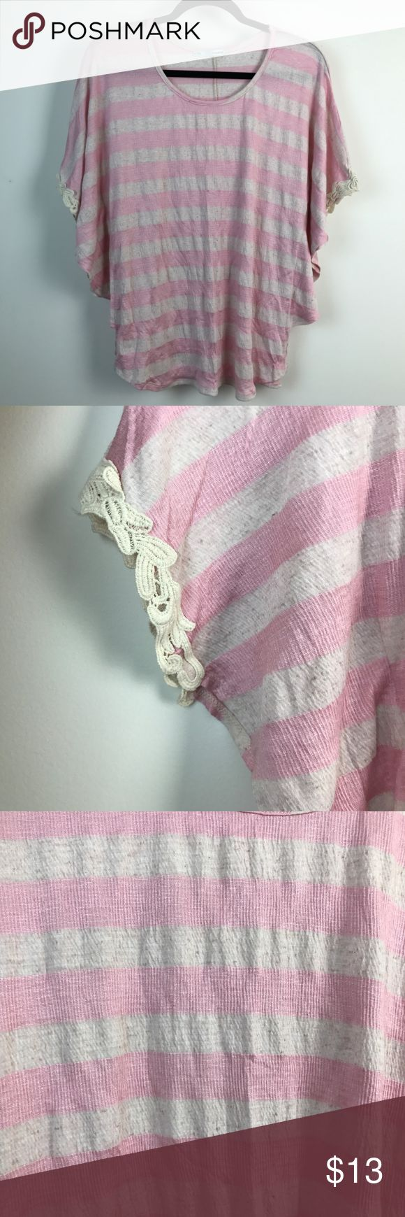 """Maurices Pink Striped Soft Batwing Knit Top XL Maurices Women's Cream Pink Striped Soft Batwing Sleeve Casual Knit Top XL   Gently Worn, Excellent Condition!    Please refer to pictures for additional condition information and if you have any other questions about this item please feel free to ask!  Measurements Laying Flat: Length: 23 1/2"""" Armpit to Armpit: 18 1/2"""" Sleeve Length: 5 1/2"""" Maurices Tops Tees - Short Sleeve"""