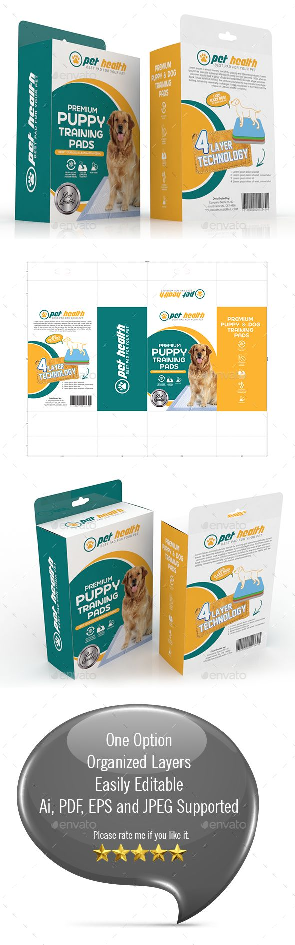 #Dog Training Pad Packaging Template - #Packaging Print #Templates Download here:  https://graphicriver.net/item/dog-training-pad-packaging-template/20323704?ref=alena994