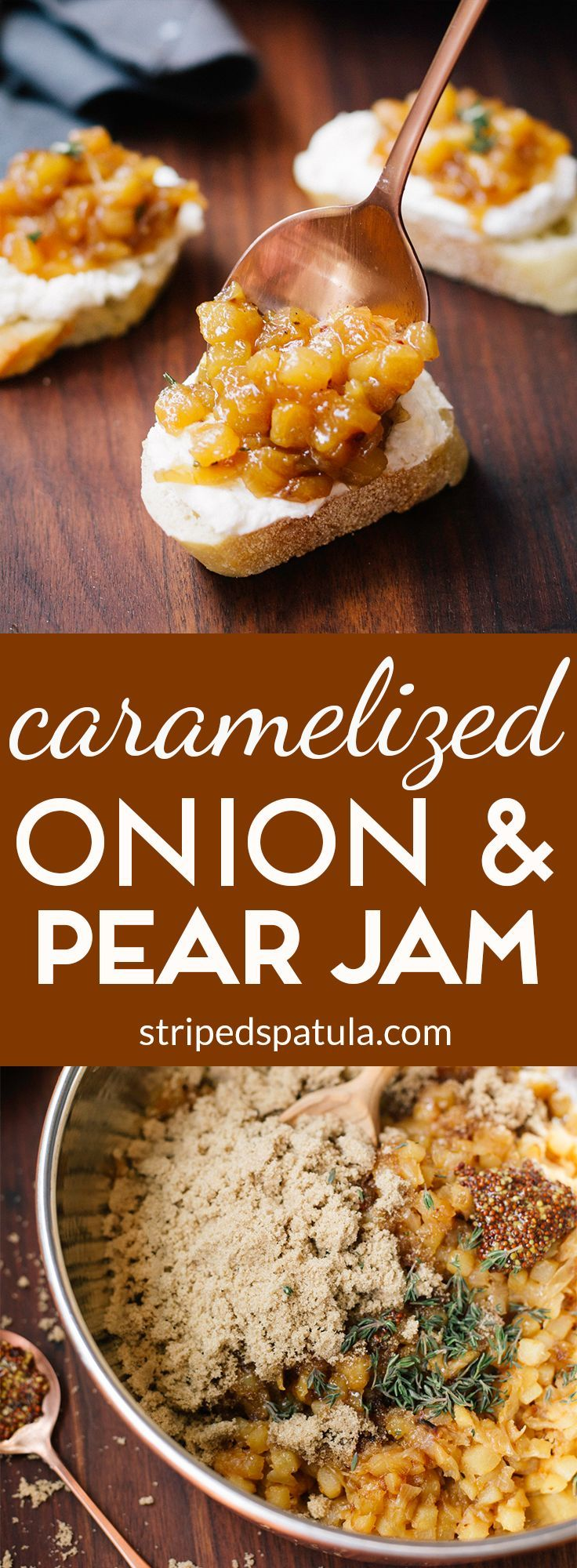 With brown sugar, white balsamic vinegar, whole grain Dijon, and thyme, this sweet-savory jam is a great accompaniment to holiday cheese boards, spread atop whipped goat cheese crostini, or even alongside pork chops!