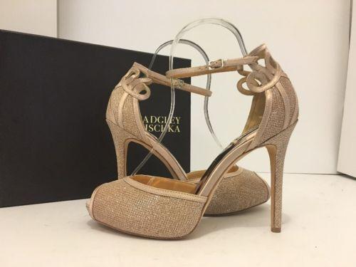Badgley Mischka Smolder Latte Glitter Fabric Women's Evening Heels Sandals 9 M