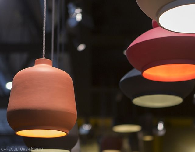 Exciting new lighting and furniture was launched by Miniforms at the Salone del Mobile Milan 2015, which was created in collaboration with international designers. Products: Kiki + Tora ceramic suspension lamps.