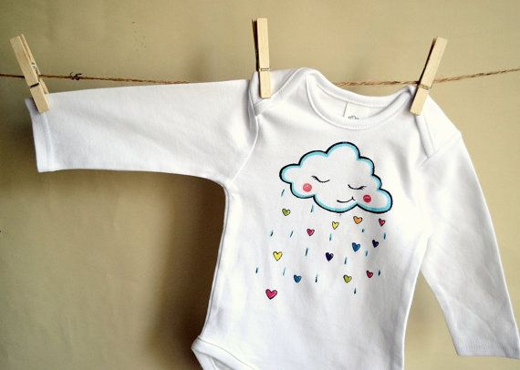 White long sleeve bodysuit for a little baby with a by maLOVEnia, $20.00