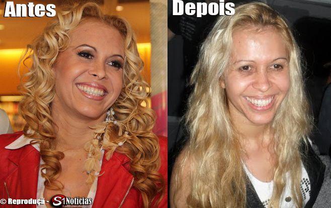 Antes e depois da cantora Joelma sem maquiagem ou Photoshop