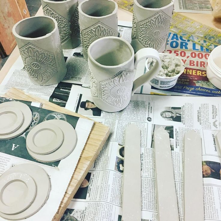 Let the #mug assembly line continue!  #stoneware #pottery #ceramics #clay #handmade #handmadeisbetter #ceramica #ceramic #keramik #shoplocal #vancouver #instapottery #potterystudio #iloveclay #woodblock via: #probeatzpromo