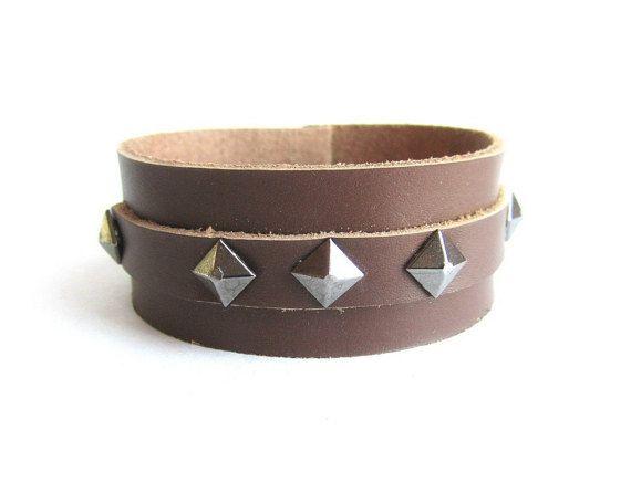 Mens studded leather cuff bracelet men's rock by Bravemenjewelry