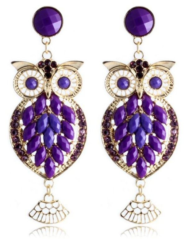 Purple and Black on Gold Plated Small Owl Earrings tpmtEVrl0q