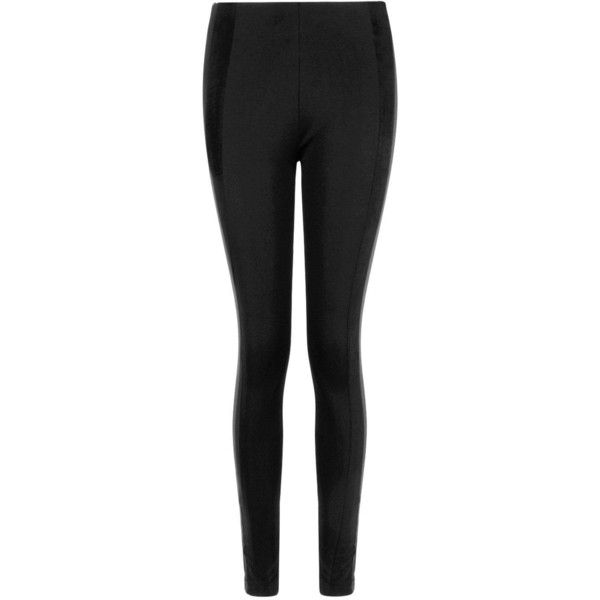 Boohoo Kiana Leather Look Suedette And Ponte Panel Leggings ($20) ❤ liked on Polyvore featuring pants, leggings, faux leather panel leggings, sports leggings, mesh-panel leggings, ponte pants and wide leg palazzo pants