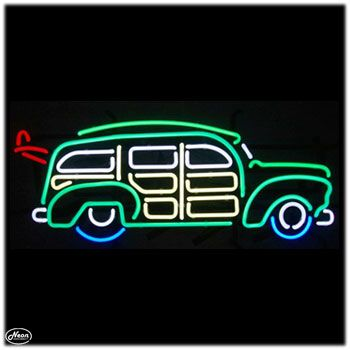 Woody Neon Bar Sign. Great accent for any room, garage or patio. This is a great sign with great colors. Brings back the memories of the old Woody car with your surfboard on top and heading to the beach. www.allneonandled.com