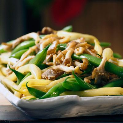 Green and Yellow Beans with Wild Mushrooms ... Simply prepared green and yellow beans with wild mushrooms are easy holiday fare.