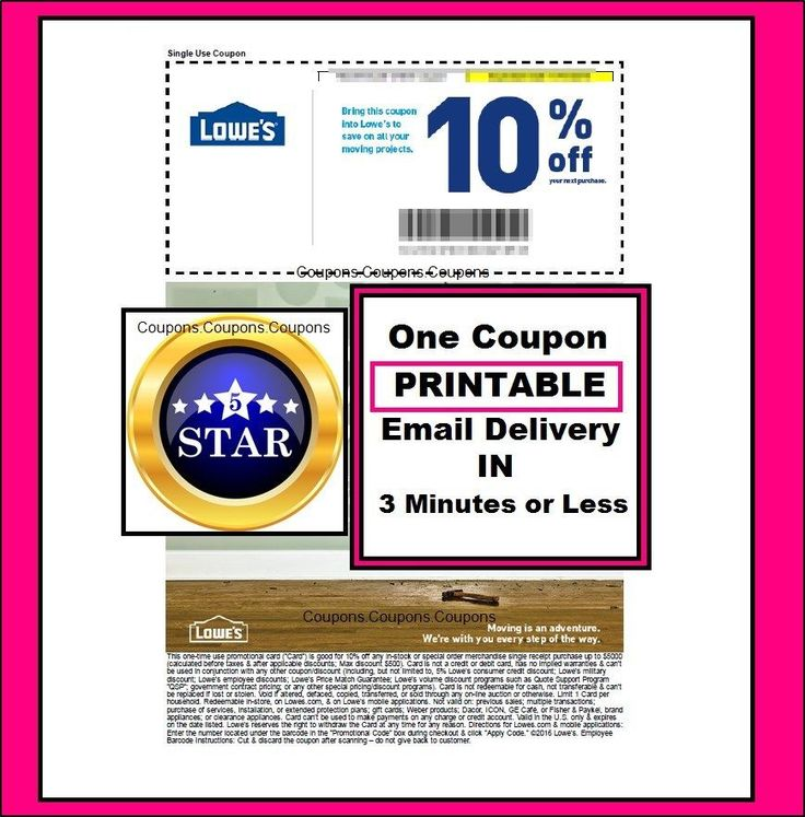 Cool One Lowes 10% Off PRINTABLE Coupon   Valid For In Store Use
