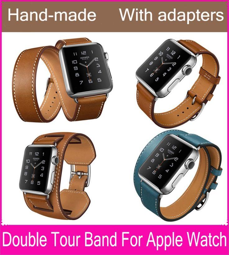 В удлиненная двойной тур ремень из натуральной кожи для Apple , часы с оригинальной из нержавеющей стали адаптеры 38 мм 42 мм доступны #men, #hats, #watches, #belts, #fashion