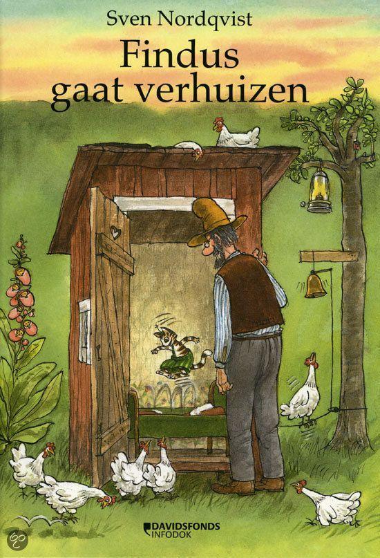 Sven Nordqvist - Findus gaat verhuizen | Davidsfonds 2012, 32 pagina's | op leeslijst KJV 2013-2014 voor 4-6 jaar | Omdat kat Findus van opa Pettson niet om vier uur 's nachts op zijn bed mag springen, verhuist hij naar een huisje in de tuin. Maar is dat wel zo leuk? | http://www.bol.com/nl/p/findus-gaat-verhuizen/9200000006307790/