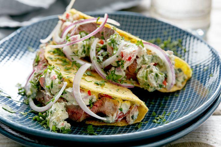 Taco med kremostsalsa og storfekjøtt | Oppskrift