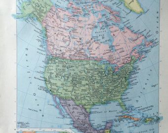 150 best vintage maps images on pinterest vintage 1967 rand mcnally world atlas map page north america on one side and mexico gumiabroncs