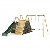 Plum® Climbing Pyramid Wooden Play Climbing Frame with Swings