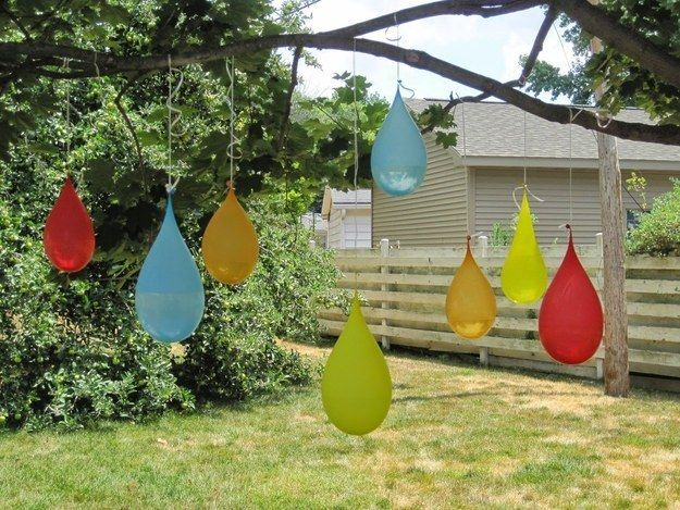 Swap out a piñata for water balloons for a game that will actually cool you down.