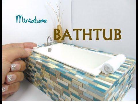 (7) Wooden Bathtub that holds water Dollhouse Furniture Miniature Furniture Bathroom - YouTube