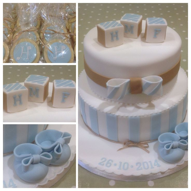 Two tier Christening cake with matching shortbread favours
