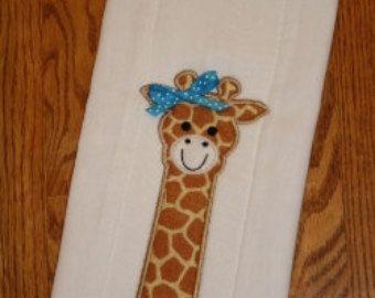 Sale Price   Giraffe Burp pad Embroidery Machine by SewingForSarah