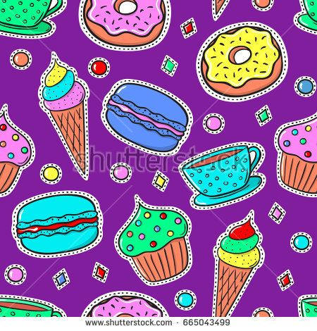 Seamless pattern with colorful sweets and tea cup. Repeatable vector illustration. Cookie background. Food pattern.