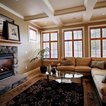 White trim around honey oak windows decoration ideas for Living room ideas oak