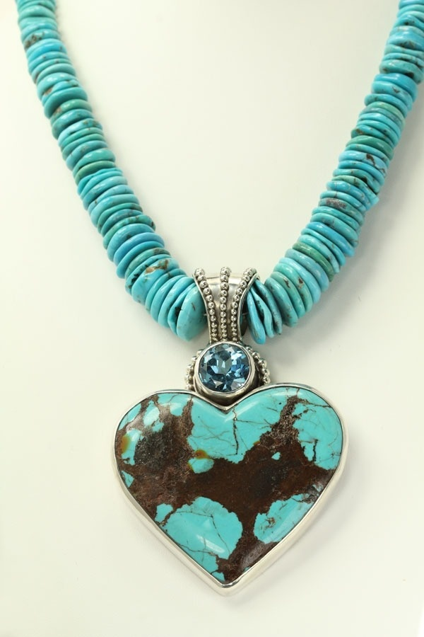 Large Turquoise Heart Statement Necklace