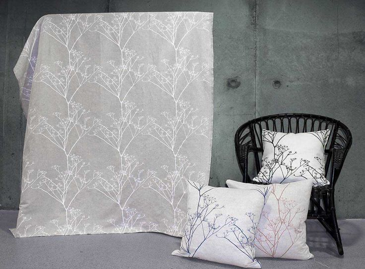 Chervil Grey-White 100% linen fabric with Grey floral print