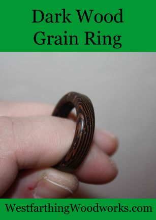 A dark wood grain ring looks amazing, and is a contrast to the bright and shiny colors of most metal rings. They are all easy to make, and dark wood is commonly available in woodworking stores.