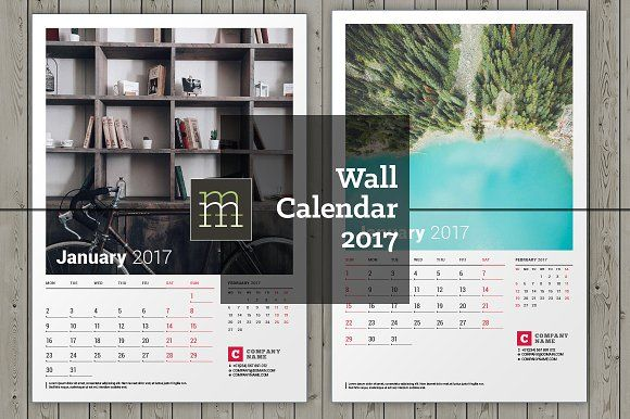 Wall Calendar 2017 (WC23) by mikhailmorosin on @creativemarket