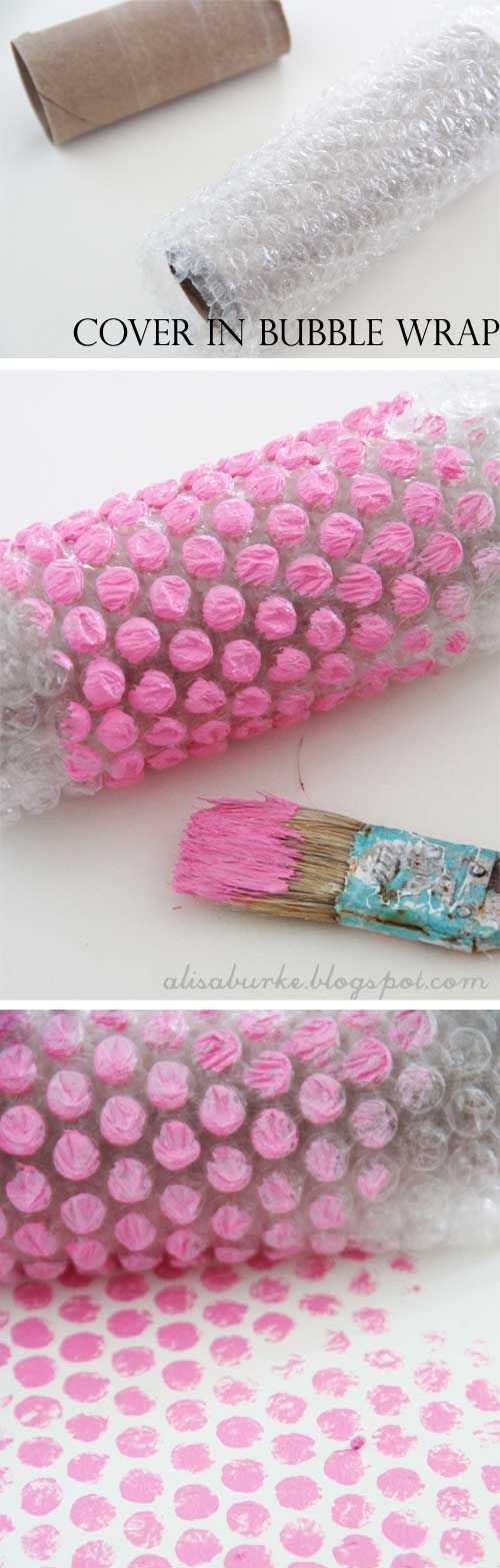 Come creare #pois | Peindre avec un rouleau de carton : plein d'idées pour des motifs grâce à des matériaux de récup - Painting with cardboard rolls: several ideas with repurpose stuff. Great idea for collage backgrounds, mixed media, ect.