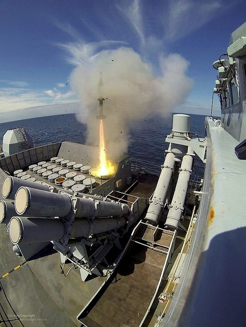 Sea Wolf surface to air missile leaves launcher onboard Type 23 frigate HMS Montrose during exercise.Seawolf shield of Britain's frigate fleet against air attack.In service over 30 years proven itself in battle in Falklands & potent weapon to this day.