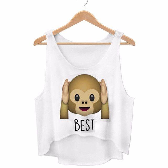 Kiwi Cute Cartoon Monkey Printed Emoji Crop Top Harajuku Kwaii Best Friends Forever Summer Funny Femme Cotton Tops