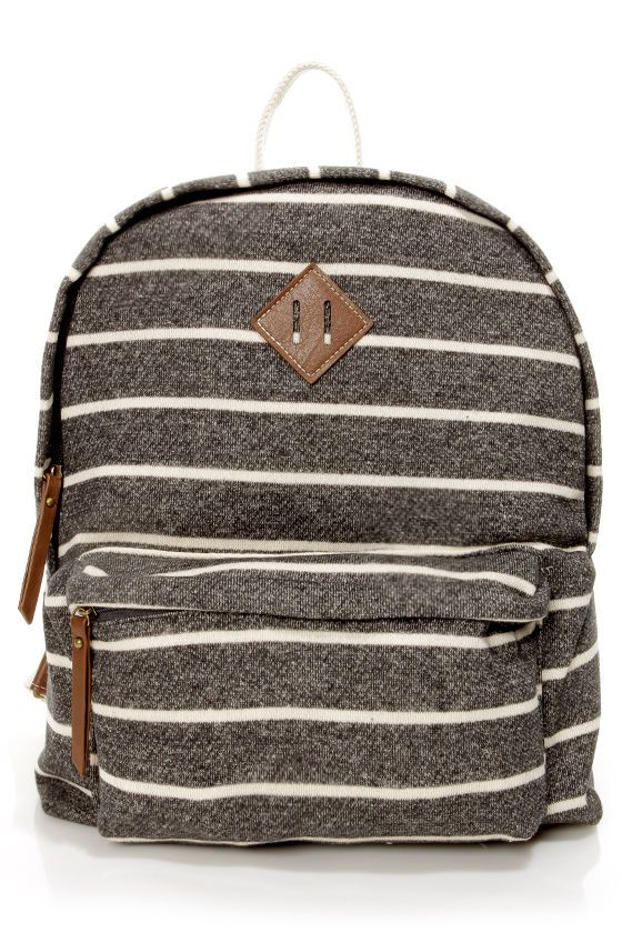 Madden Girl Bskool Backpack - Striped Backpack - Charcoal Grey Backpack - $54.00 #lulus