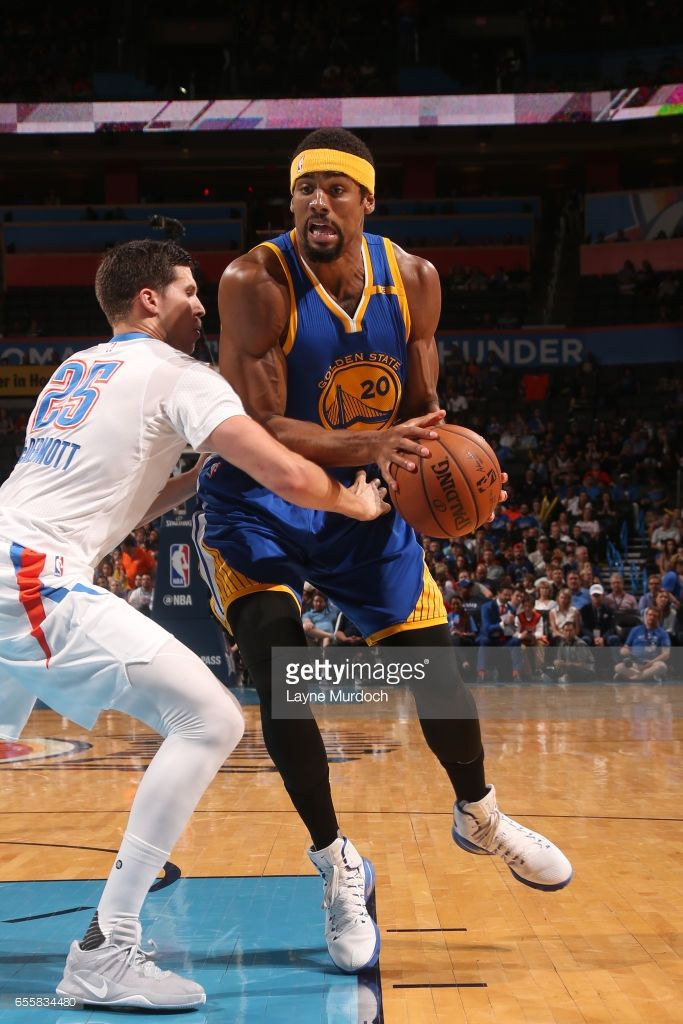 James Michael McAdoo #20 of the Golden State Warriors drives to the basket against the Oklahoma City Thunder on March 20, 2017 at Chesapeake Energy Arena in Oklahoma City, Oklahoma.