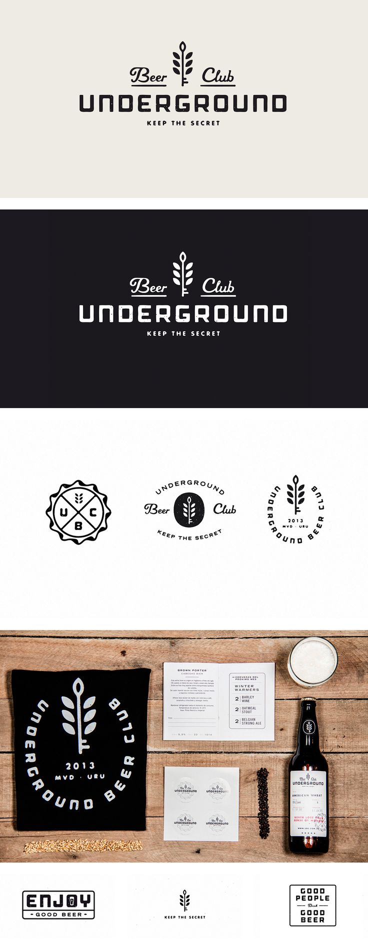 identity / underground beer club--like wheat/key and the typeface for underground