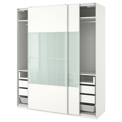 PAX Wardrobe white, Fardal highgloss/white 118 1/8x23 5