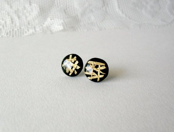Black and gold stud earrings Abstract design by DivineDecadance, $14.00