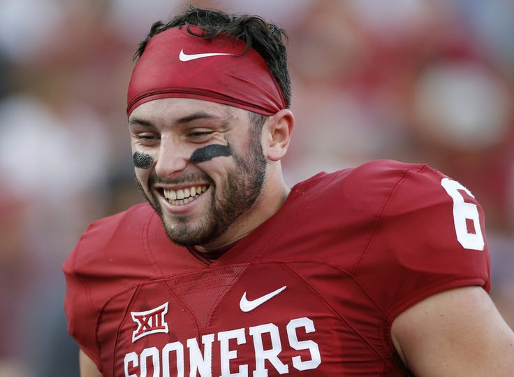 Oklahoma's Baker Mayfield smiles as he warms up before a college football game between the University of Oklahoma Sooners (OU) and the University of Kansas Jayhawks (KU) at Gaylord Family-Oklahoma Memorial Stadium in Norman, Okla., Saturday, Oct. 29, 2016. Oklahoma won 56-3. Photo by Bryan Terry, The Oklahoman