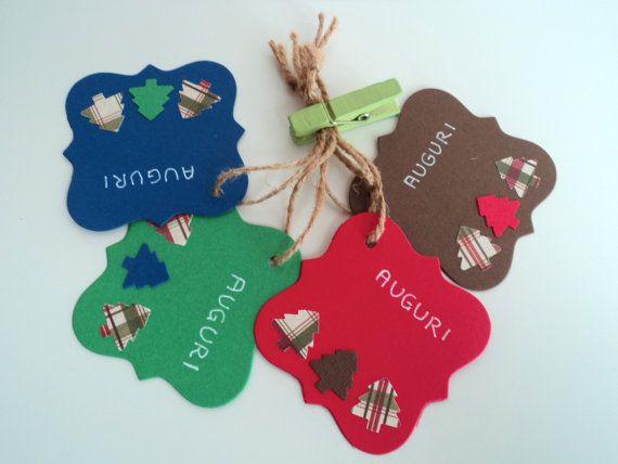 Set di 4 tag etichette semplici chiudi pacco Natale di scartabella