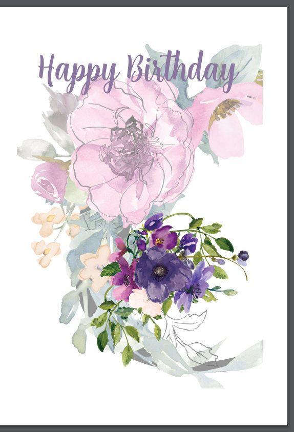 happy birthday card design purple flowers faded pink