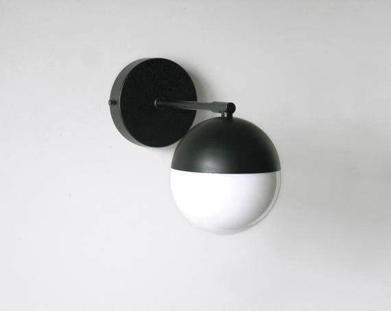 Black Orb Light Black Modern Light Black Mirror Light Etsy Bathroom Sconces Black Mirror Black Bathroom