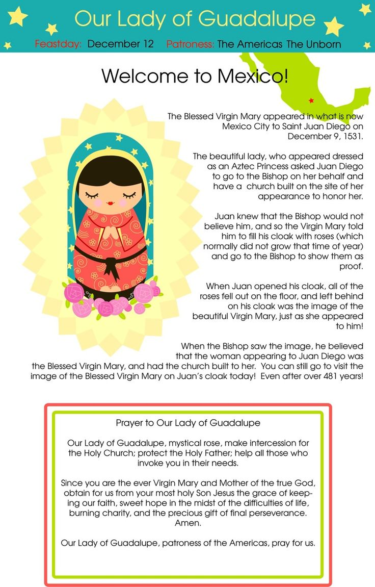 Our Lady of Guadalupe Shining Light Doll....explore around the board and you will find Mary pages for many other countries as well.