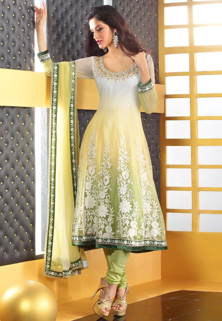 Off White, Yellow and Pista Green Anarkali Net Churidar Kameez @ $140.15