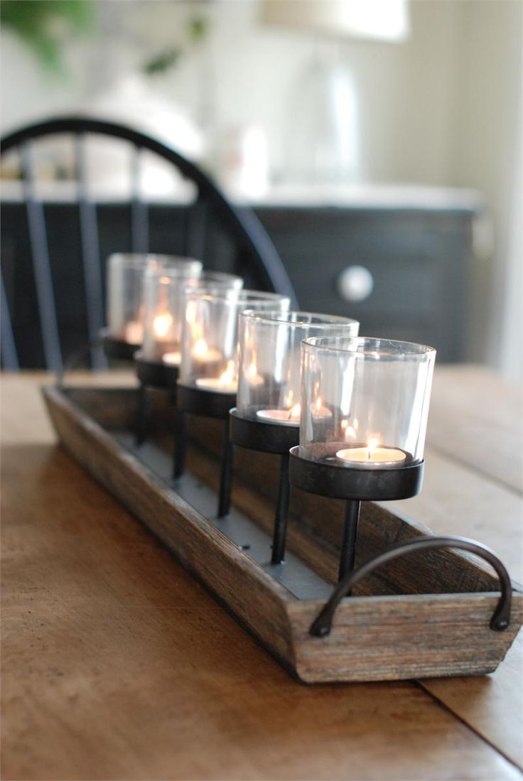 Rustic wood centerpiece votive holder kitchen table or
